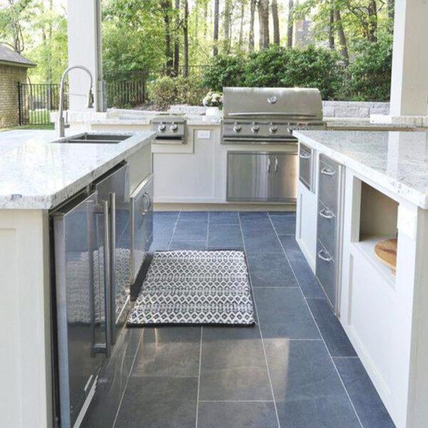 Kitchen tiles bluestone grey tiling stone floor